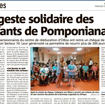 565€ récoltés par les enfants du centre Olbia à Pomponiana !